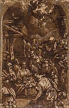 Follower of Paolo Veronese (1528-1588) - Adoration of the Shepherds, with St Jerome