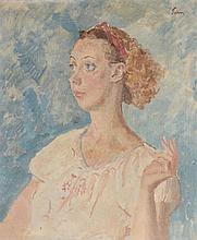 Augustus Edwin John (1878-1961) - Portrait of a lady, half-length, looking to her right