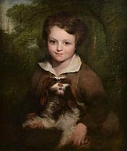 Richard Rothwell (1800-1868) - Portrait of a young boy holding a dog