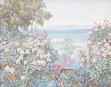 Beatrice Parsons (1870–1955) - Rose bushes with seascape beyond