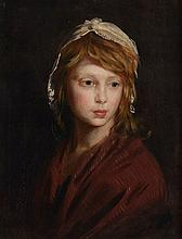 English School (late 18th Century) - Portrait of a young girl wearing a shawl
