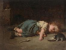 English School (19th Century) - Young girl watching a cat drinking milk