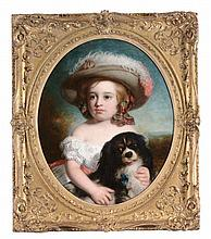 Charles Baxter (1809-1879) - Portrait of a young girl holding a Cavalier King Charles Spaniel