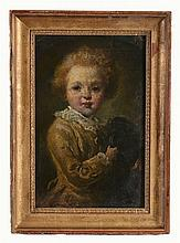 French School (19th Century) - Portrait of a boy with his dog