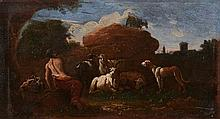 Follower of Philipp Peter Roos (1657-1706) - Goatherd resting with cattle, goats, and sheep, in an Italianate landscape