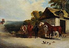 John Frederick Herring the Elder (1795-1865) - Four relief coach horses outside a stable, with a coach approaching