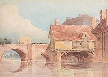 John Thirtle (1777-1839) - Wagon on a bridge, Norwich
