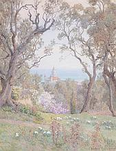 Beatrice Parsons (1870–1955) - Woodland view overlooking a church, with the ocean beyond