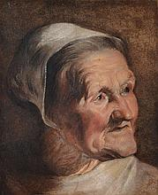 Attributed to Jacob Jordaens (1593-1678) - Study of an old woman's head, looking upwards to her left, wearing a white bonnet