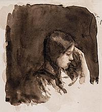 Theodore Casimir Roussel (1847-1926) - Head study of a child