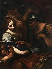 Follower of Simone Pignoni (1611-1698) - An allegory with Ceres holding flowers and directing a soldier