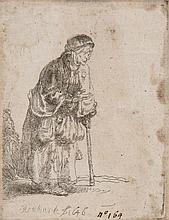 Rembrandt van Rijn (1606-1669) - Beggar Woman Leaning on a Stick