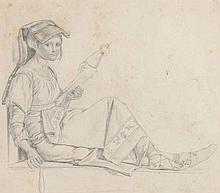 Ernst Meyer (1797-1861) - Portait of Italian girl seated on a ledge (recto); Study of musicians (verso)