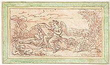 French School (17th Century) - Allegorical scene with Time resting beside an angel writing