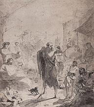 Italian School (19th Century) - Hermit with walking stick, holding a lantern, walking through a crowded street