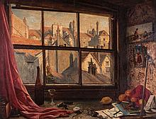 W. H. Woods (fl.1840-1860) - Looking out of the artist's studio window, with Bristol Cathedral in the distance