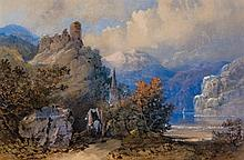 Thomas Miles Richardson the Younger (1813-1890) - Horse-drawn wagon on a lakeside path, with church spire and ruin on an outcrop, mountains beyond