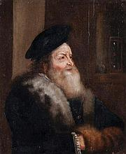 Follower of Jan Lievens (1607-1674) - Portrait of a bearded old man, bust-length, wearing a beret with hands in a muff, sand timer behind