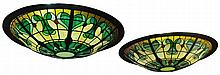A pair of large French 'Bistro style' stained glass and metal plafonniers