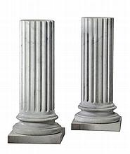 A pair of Continental, probably Italian white marble columnar pedestals
