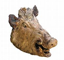 A Continental sculpted terracotta model of a wild boar's head