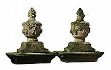 A pair French carved sandstone pier finials, 19th century, modelled as urns