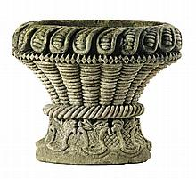 A carved limestone planter, probably French, late 18th century