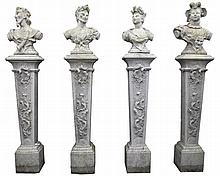 A set of four stone composition busts representing the Arts and Nature