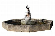 A Continental spelter figural fountain group
