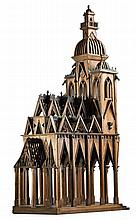 A fine French stained walnut architectural model of a gothic edifice