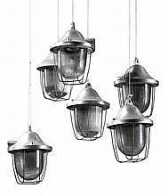 A set of six painted metal and moulded glass pendant ceiling lights