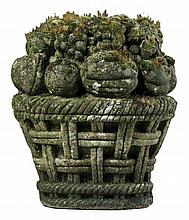 A French carved limestone fruit basket, 18th century