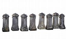 A set of eight Belgian bluestone pier finials, 19th century, with domed tops