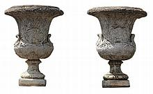 A pair of stone composition Campana urns, 20th century