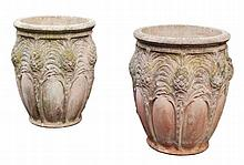 A set of three stone composition planters, 20th century, of circular section
