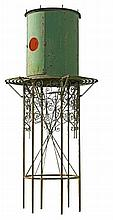 A French green painted wrought iron 'chateau dêu' water tower, 19th century
