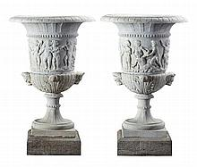 A pair of large Continental sculpted white marble urns, late 19th century