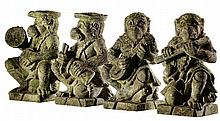 A set of four sculpted limestone models of monkey musicians, 20th century