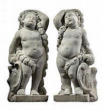 A pair of Flemish sculpted Carrara marble models of putti , late 17th century