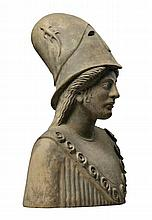 A Continental sculpted terracotta bust of Pallas Athena
