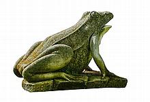A substantial Continental sculpted limestone model of a frog on a plinth
