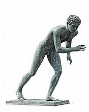 Giovanni Varlese, , a Neapolitan patinated bronze model of a running youth