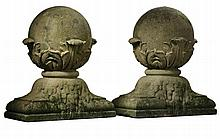 A pair of French stone composition pier finials, late 19th century