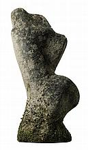 A French carved limestone abstract sculptural form representing a female nude