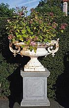 A French white painted cast iron twin handled urn