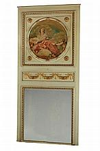 A French painted and parcel gilt trumeau mirror in Louis XVI taste