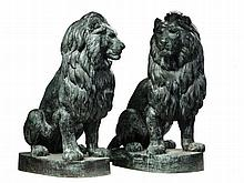 A pair of French electrotype copper coated cast iron models of lions