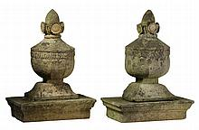A near pair of French carved sandstone finials, late 18th century