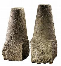 A pair of Continental limestone conical driveway corner stones, 19th century