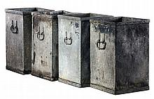 A set of four Continental sheet iron planters, early 20th century